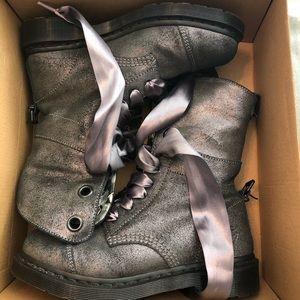 Dr. Martens silver metallic boots